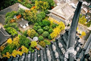 vista dalla cima di una pagoda foto