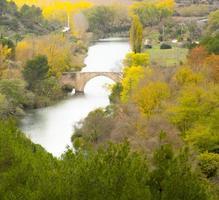paisaje de otoño con río y puente romano foto