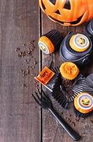 cupcakes di zucca di halloween foto