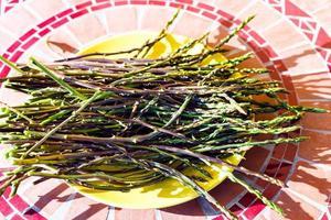 germoglio di asparagi selvatici sul piatto giallo foto