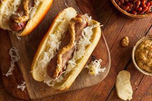 bratwurst di birra con crauti