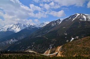 paesaggio della catena montuosa della neve foto