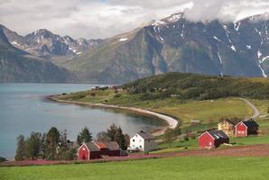 paesaggio del fiordo vicino al villaggio djupvik
