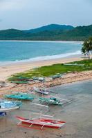 barche e palme sulla spiaggia di sabbia di fronte foto