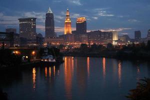 skyline di Cleveland di primo mattino foto