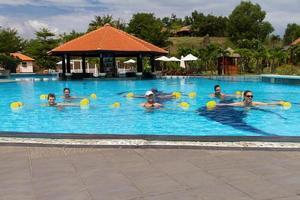 gruppo sorridente che fa aerobica in acqua in piscina con manubri