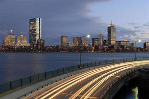 Boston di notte da Cambridge