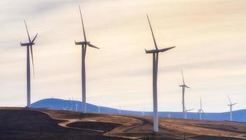 turbine eoliche nella gola del fiume Columbia foto