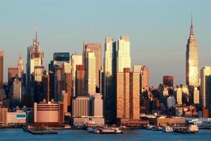 skyline di new york al tramonto foto