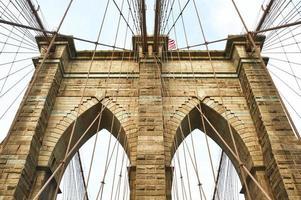 pilastro del ponte di Brooklyn, New York City foto