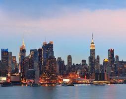tramonto di new york city foto