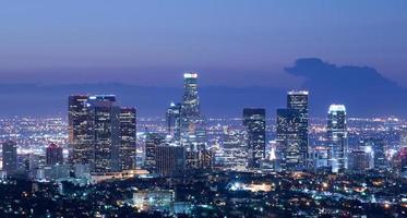 skyline di los angeles all'alba foto