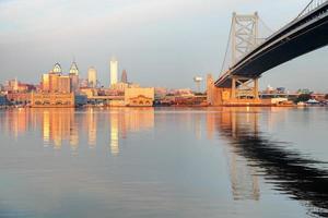 skyline di philadelphia all'alba foto