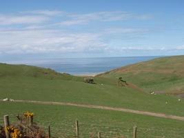 vista sulla spiaggia del mare aberdyfi aberdovey foto