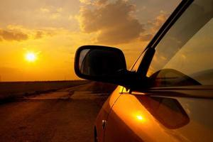 tramonto in auto