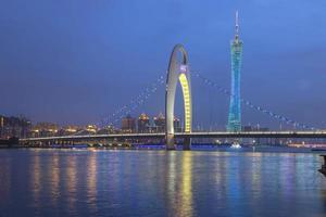 città di Guangzhou dopo il tramonto foto