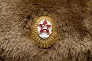 berretto di pelliccia con stella russa foto