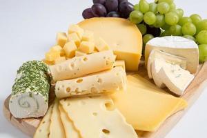 bianco isolato variazione del piatto di formaggio foto