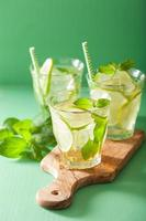 Mojito cocktail e ingredienti su sfondo verde