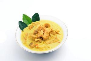 pollo tailandese del curry dell'alimento con i germogli di bambù foto