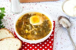 zuppa di acetosa verde con uovo nel piatto foto