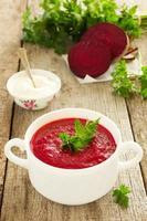 la tradizionale zuppa di barbabietole russa. foto