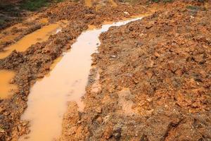 strada fangosa bagnata locale, strada cray nella strada di campagna foto