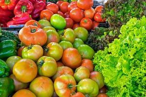 pomodori, peperoni e insalata foto