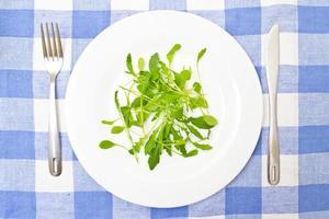 insalata verde estate sul piatto bianco foto