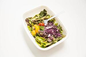 mangiando insalata in piatto di plastica bianco isolato foto