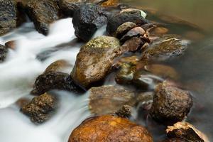 acqua corrente con roccia.
