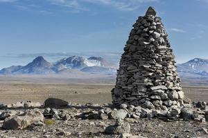 monumento della torre della roccia degli altopiani dell'Islanda foto