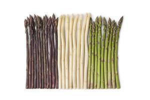 asparagi viola, bianchi e verdi