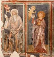 verona - antico affresco del profeta e della vergine foto