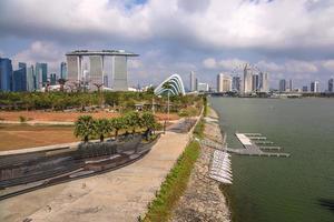 vista sullo skyline della città di Singapore a marina bay