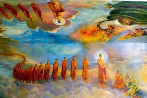 dipinti di Maha Wizaya Paya Pagoda a Yangon foto