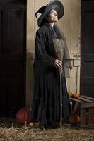vecchia strega di halloween con scopa e zucche