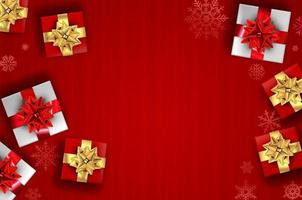 sfondo di Natale rosso - regali e fiocchi di neve