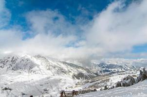 carta da parati innevata del paese delle meraviglie scenico di inverno foto