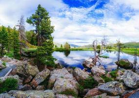 lago tra le montagne foto