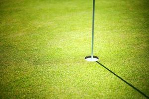 tazza da golf su sfondo verde con copyspace foto