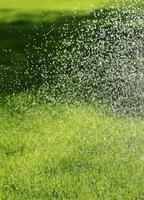 irrigatore che innaffia il prato foto