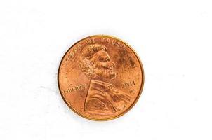 Moneta da 1 centesimo di rame in dio di cui ci fidiamo foto