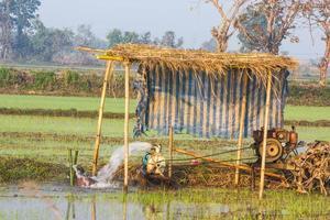 pompa le acque sotterranee per il riso di campo foto