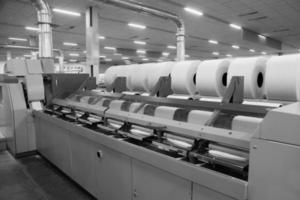 gruppo cotone nella fabbrica di filatura foto