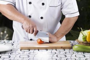 chef fetta di pomodoro foto