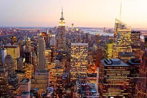 Vista di occhio di uccelli di Manhattan, New York City, Stati Uniti d'America