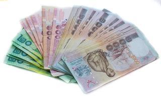 prezzo delle banconote della Thailandia di cinquecento per lo sfondo foto