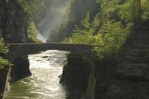 ponte ad arco in pietra nel parco statale di letchworth