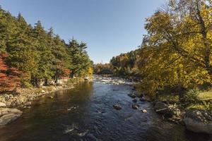 il fiume scorre attraverso le montagne di Adirondack